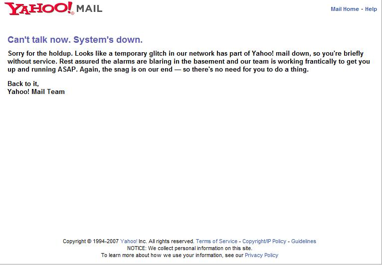 Yahoo! Mail Down